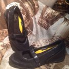 WOMEN'S SAFETRAX SLIP RESISTANCE BLACK LEATHER MARY JANES-SIZE 9M-VELCRO CLOSE