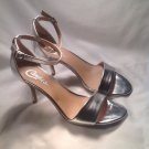 WOMEN'S SILVER CANDIES ANKLE STRAP STILETTO SANDALS HIGH HEELS SHOES Sz 8M