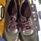 Women's GRASSHOPPERS BLACK LEATHER CLASSIC COMFORT  OXFORDS LACE SHOES 9W