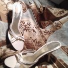 WOMEN'S NINE WEST WESTEBAN IVORY LEATHER STRAPPY SLIP ON DRESS SANDALS SIZE 7M