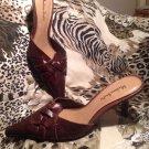 Women's Madison Studio Strutley Brown Leather Pointed Toe Slide Heels 7M Mules