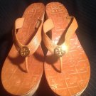 TORY BURCH THORA CORK PLATFORM WEDGE THONG SANDALS BROWN WOMEN'S SIZE 10.5M NICE