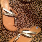Italian Shoemakers Women GOLD Sandals Size 6.5M Thong Style Strappy Slip On