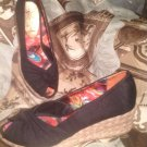 SOFT STYLES BY HUSH PUPPIES CANVAS OPEN TOE WEDGE HEEL SHOES SIZE 6.5M BLACK