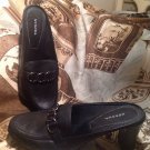 "WOMEN'S "" MERONA "" BLACK LEATHER TAILORED  MULES ~ SIZE 8M ~ SHOES HEELS PUMPS"