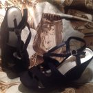 "WOMENS ANA A NEW APPROACH BLACK SUEDE WEDGES SZ 10M SHOES 4.5"" HEELS SANDALS"