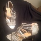 "WOMEN'S SIZE 9M RIALTO CADLEY SILVER GLITTER JEWELED SANDALS 3"" ZIPPERED BACKS"