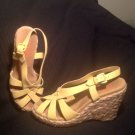 WOMEN'S MICHEAL KORS YELLOW WEDGE SLINGBACK PLATFORM ESPADRILLE SANDALS SIZE 8M