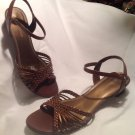 GUC! WOMENS SZ 9M NATURALIZER BROWN LEATHER SANDALS SHOES MRSP $64