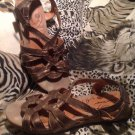 """WOMEN'S METALLIC BARE TRAPS LEATHER SANDALS SHOES """"REALITY"""" SIZE 8M MRSP $59"""
