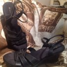Naturalizer Black Leather Size 9.5M Womens Medium ANKLE STRAP Wedge Sandal Shoe