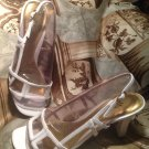 LIFE STRIDE CIERRA WHITE PATENT LEATHER Slingback Sandals Women's Size 8.5M
