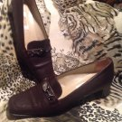 TALBOTS WOMEN'S BROWN LEATHER W/SILVER CHAIN LOW HEEL LOAFERS SHOES SIZE 6.5M