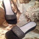 WOMEN'S CLARKS ARTISIAN SANDALS  SLIDES THONGS SHOES SILVER/BLACK SZ 6M MRSP $59
