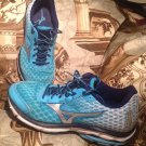 Women's MIZUNO WAVE RIDER 18 TEAL/NAVY/SILVER SNEAKERS SHOES SIZE 8.5M
