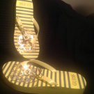 GUESS WGBESSIE-T WOMEN'S SIZE  10M YELLOW THONG SANDALS SAILOR ACCENTS SHOES