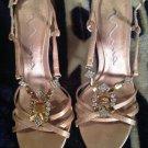 NINA Tan Satin w/ Rhinestones Women's Slingback Dressy Shoes Sandals Size 6.5 M