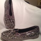SPERRY Top-Sider WOMEN SZ 5M Biscayne 1 Eye Gray Leopard Print Canvas Boat Shoe
