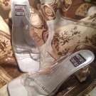 MOOTSIES TOOTSIES COLLECTION SILVER SPARKLE CLEAR HEEL SLIDE SANDALS SIZE 9M