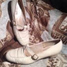 NATURAL BRIDGE WOMEN'S TAN LEATHER T-STRAP SHOES SIZE 7.5M HANDMADE IN VIRGINIA