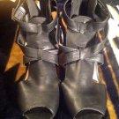 Bamboo Women's Fashion Black Peep Toe Summer Sandals Heels Shoes Sz 8.5M