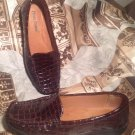 PIERRE DUMAS WOMEN'S BROWN CROC LOAFERS SLIP ON CASUAL FLAT SHOES SIZE 7M