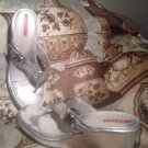 PRADA SILVER PATENT LEATHER THONG WEDGE FLIP FLOP SANDALS HEELS WOMEN'S SIZE 40