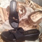 ITALIAN SHOEMAKERS ITALY WOMEN'S BLACK FABRIC WEDGE HEEL SANDALS SHOES SIZE 9.5M