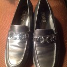 Franco Sarto Women's LEATHER Shoes Buckle ACCENT 6.5M Black  Loafers MRSP $59