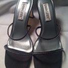 Women's Sam & Libby Black Velvet Rhinestones Dress Sandals Heels Sz 10M MRSP $66