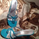 RAMPAGE MOIRA LADIES TURQOUISE CRINKLE PATENT DRESS SANDALS SHOES SZ 8M MRSP $80