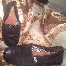 WOMEN'S TOMS BLACK SPARKLE METALLIC CANVAS SLIP-ON FLATS GLITTER SHOES SIZE 9M