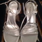 WOMENS SILVER RHINESTONE SLINGBACK SANDALS WEDDING HIGH HEELS SHOES Sz 9.5M