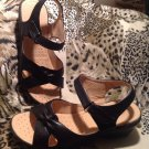 First Sight Women's Black Synthetic Slide Sandals Size 8M Wedge HEELS