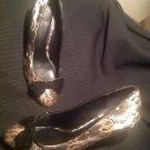 FIONI WOMEN'S GOLD SATIN BLACK FLORAL LACE VELVET BOW HEELS PUMPS SHOES SZ 8.5W