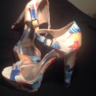 "HOT TOMATO ANKLE STRAP OPEN TOE FABRIC PASTEL SANDALS 5.5"" HEELS SIZE 9.5M"