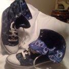"COACH ""BONNEY"" Dark Blue Denim Signature Logo Hi-Top Foldover Shoes Sneakers 9.5"