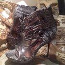 Promise SILVER & Black Open Toe Snake Print ZIPPER BACK Heels Women's Size 10M