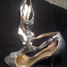 ANTONIO MELANI SILVER METALLIC CRYSTAL JEWELED T-STRAP FORMAL Sandals SZ 8.5M