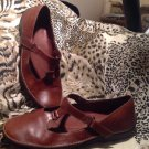 Nuture Women's Brown Leather Mary Jane Shoes Low Heel LOAFERS Size 9.5M