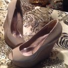 Charlotte Russe Deb High Heel Suede Wedge GRAY Patent leather Shoes Women 8M