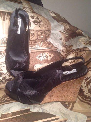 STEVE MADDEN CRESST WOMEN'S BLACK FABRIC WEDGE CORK HEEL SANDALS SHOES SIZE 7.5M