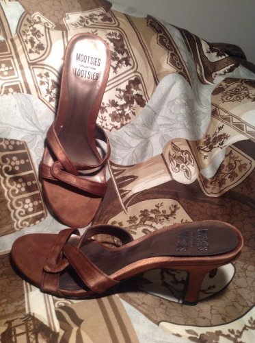 MOOTSIES TOOTSIES BROWN SATIN OPEN TOE WOMEN'S FORMAL DRESS SANDALS SHOES SZ 7M