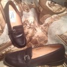 ROS HOMMERSON WOMEN'S SHOES BROWN LEATHER SLIP-ON LOAFERS BUCKLE SIDES SZ 8.5 4A