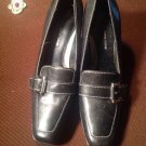 Casual Corner WOMEN'S Sz 9.5M Black Leather Buckle Loafers Pumps SHOES MRSP $72