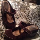 Rialto Comfort BROWN Mystical Womens SZ 7.5M Shoes Leather Suede Mary Jane Mules