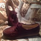 SAS Women's Sz 9.5M Genuine Hand Sewn BURGANDY Leather Lace Up Moccasin Oxfords