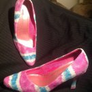 BELLINI MARIANNA 9.5W MULTI COLOR WOMEN'S PINK GREEN LEATHER HEELS PUMPS SHOES