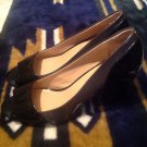 "MOOTSIES TOOTSIES WOMEN'S SIZE 7.5M BLACK & GRAY PUMPS 3"" HEEL OPEN TOE PATENT"