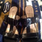 Anne Klein MABELGINTJ  Women US 7.5M Black Open Toe Sandals NICE CONDITION